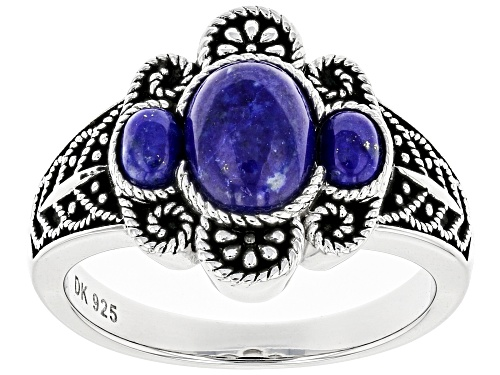 Photo of 8x6mm & 4x3mm Oval Lapis Lazuli Rhodium Over Sterling Silver 3-Stone Ring - Size 9