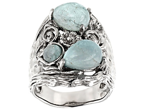 Photo of PEAR SHAPE AND ROUND CABOCHON BRAZILIAN AQUAMARINE RHODIUM OVER STERLING SILVER RING - Size 7