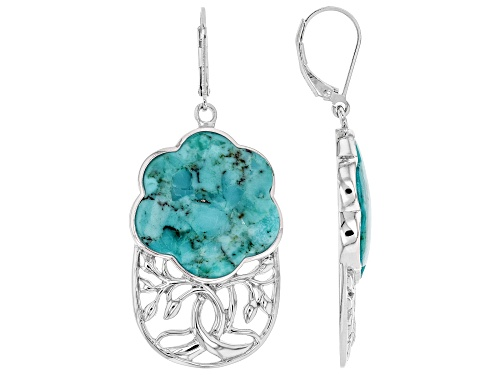 Photo of 22mm Free-Form Turquoise Rhodium Over Sterling Silver Dangle Earrings