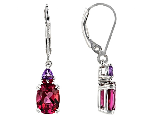 Photo of 2.04ctw Lab Created Bixbite, .17ctw Amethyst & .03ctw Red Spinel Rhodium Over Silver Dangle Earrings