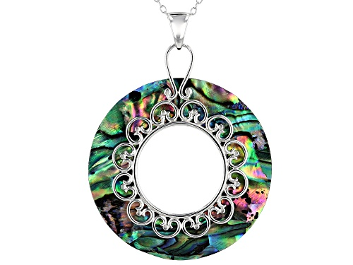 Photo of 33mm Donut Shape Abalone Shell Rhodium Over Sterling Silver Pendant with Chain