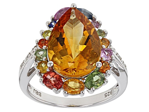 Photo of 4.00ct citrine with 1.36ctw multi-sapphire and .03ctw white zircon rhodium over silver ring - Size 7