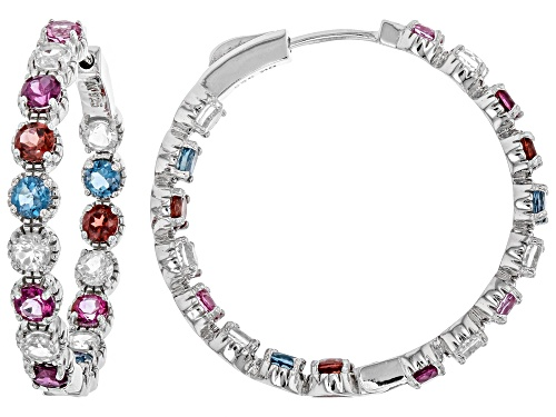 Photo of 6.51ctw Round Multi-Gemstone Rhodium Over Sterling Silver Inside/Outside Hoop Earrings