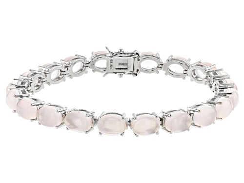 Photo of 8x6mm Oval Rose Quartz Rhodium Over Sterling Silver Tennis Bracelet - Size 7.25