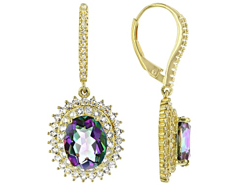 Photo of 4.06ctw oval rainbow quartz with 1.86ctw round white topaz 18k gold over silver dangle earrings
