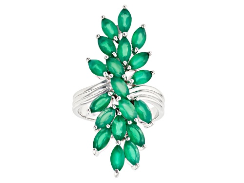 Photo of 6x3mm Marquise Green Onyx Rhodium Over Sterling Silver Ring - Size 8