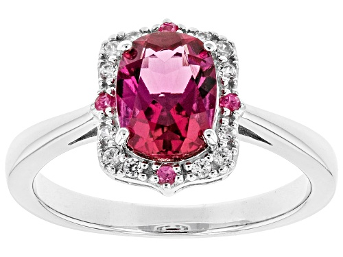 Photo of 1.08ct Lab Created Bixbite w/ .03ctw Pink Spinel & .08ctw White Zircon Rhodium Over Silver Ring - Size 9