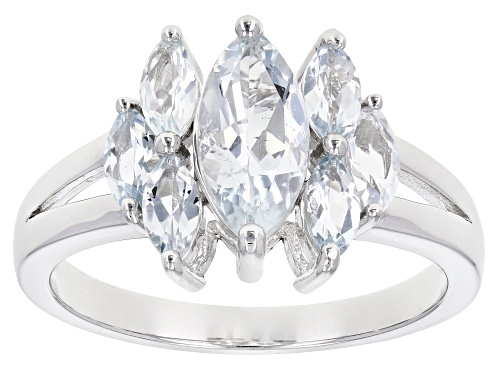 Photo of 1.38ctw Marquise Brazilian Aquamarine Rhodium Over Sterling Silver Cluster Ring - Size 8