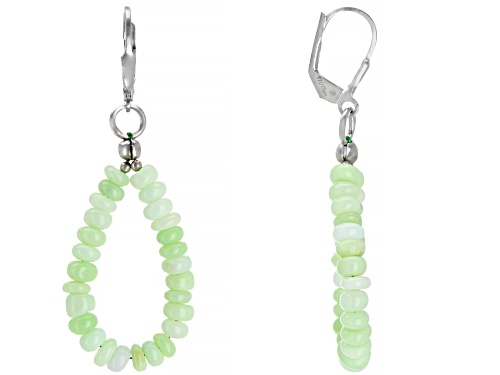 4mm Green Opal Rondelle Bead Sterling Silver Dangle Earrings