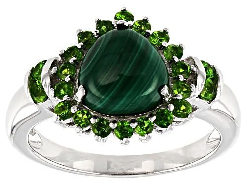 Photo of 8X8MM TRILLION MALACHITE WITH .57CTW CHROME DIOPSIDE RHODIUM OVER STERLING SILVER RING - Size 8