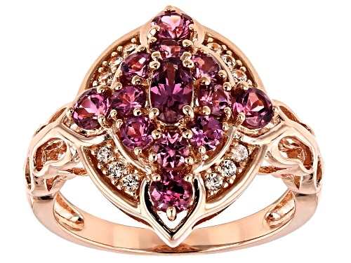 Photo of 1.37ctw oval & round pink garnet with .09ctw round white zircon 18k rose gold over silver ring - Size 7