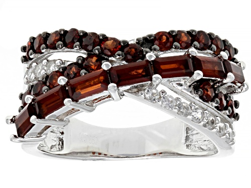 Photo of 1.59ctw Vermelho Garnet™ with .20ctw white zircon rhodium over sterling silver crossover band ring - Size 7