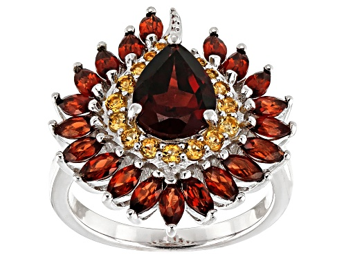 Photo of 2.83CTW PEAR SHAPE AND MARQUISE  VERMELHO GARNET(TM) WITH .37CTW CITRINE RHODIUM OVER SILVER RING - Size 8