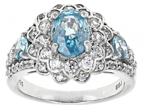 Photo of 2.37CTW OVAL AND ROUND BLUE ZIRCON WITH .92CTW WHITE ZIRCON RHODIUM OVER STERLING SILVER RING - Size 7
