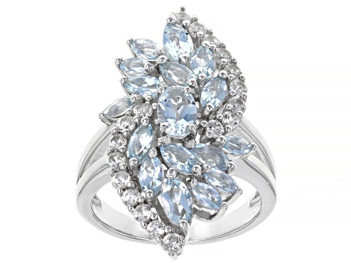 Photo of 1.86ctw Oval & Marquise Aquamarine with .94ctw Round White Zircon Rhodium Over Sterling Silver Ring - Size 8