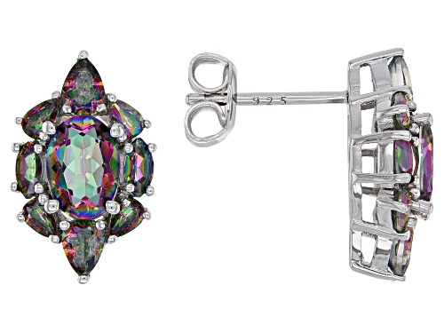 Photo of 2.52ctw multi-color quartz rhodium over sterling silver stud earrings