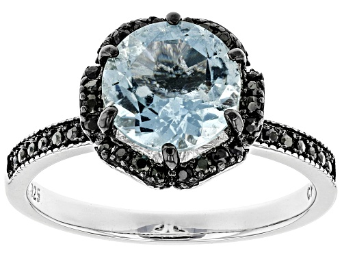 Photo of 1.49ct aquamarine with .29ctw black spinel rhodium over sterling silver ring - Size 10