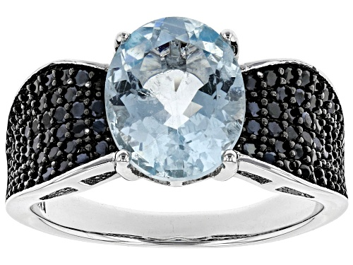 Photo of 1.94ct oval aquamarine with 0.68ctw round black spinel rhodium over sterling silver ring - Size 5