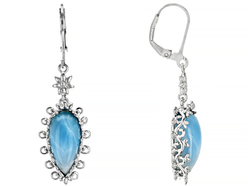 Photo of 16x7mm Pear Shape Larimar Solitaire Rhodium Over Sterling Silver Dangle Earrings