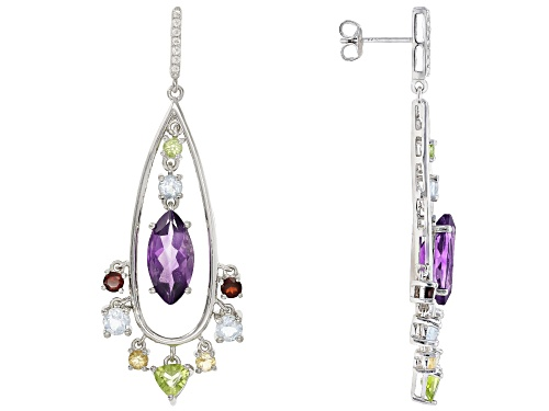Photo of 7.44CTW MIXED SHAPES MULTI-GEM WITH .13CTW ROUND WHITE TOPAZ RHODIUM OVER SILVER EARRINGS