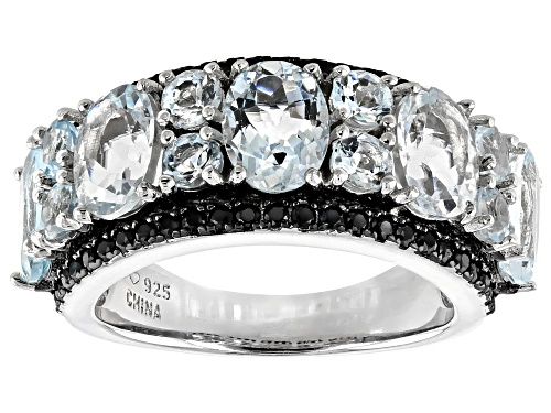 Photo of 3.72ctw oval & round aquamarine with .50ctw round  black spinel rhodium over silver band ring - Size 7