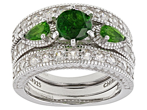 Photo of 3.32ctw Round & Pear Shape Chrome Diopside with White Zircon Rhodium Over Silver Ring & 2 Bands Set - Size 9