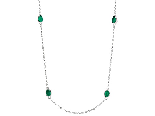 Photo of 8x6mm Pear Shape & 7x5mm Oval Green Onyx Rhodium Over Sterling Silver Necklace - Size 36