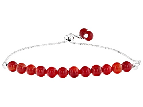 "Photo of 6mm Round Red Coral Rhodium Over Silver Bead Bolo Bracelet, Adjusts Approximately 6""-9"""