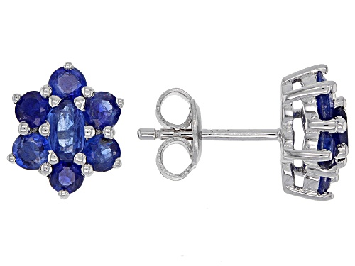 Photo of 2.36ctw Oval And Round Nepalese Kyanite Rhodium Over Sterling Silver Flower Stud Earrings