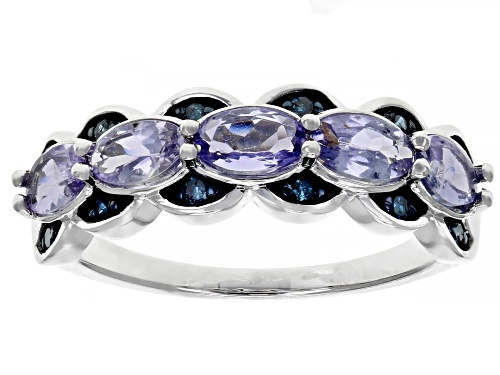 Photo of .93ctw Oval Tanzanite & .10ctw Round Blue Diamond Rhodium Over Silver Band Ring - Size 9