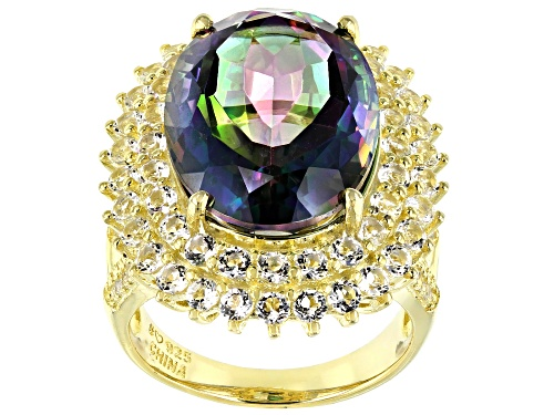 Photo of 9.54ct oval rainbow quartz with 2.51ctw round white topaz 18k yellow gold over sterling silver ring - Size 6