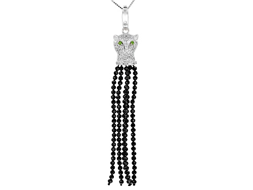 Photo of 6.61ctw Spinel Bead, 1.11ctw Zircon & .03ctw Chrome Diopside Rhodium Over Silver Enhancer W/ Chain