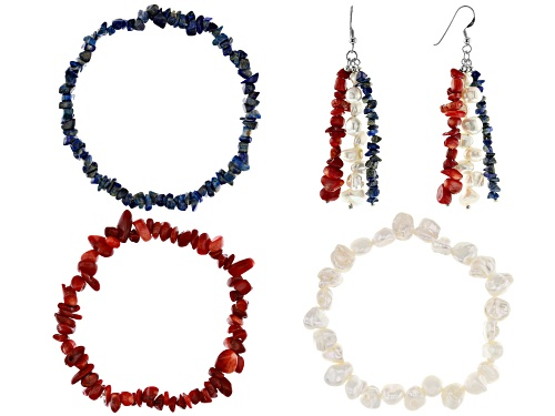 Photo of LAPIS, CORAL, CULTURED FRESHWATER PEARL RHODIUM OVER SILVER BRACELET, EARRINGS SET