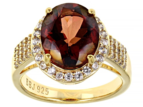 Photo of 3.49ctw Red Oval Labradorite and 0.61 Round White Zircon 18k Yellow Gold Over Sterling Silver Ring - Size 7