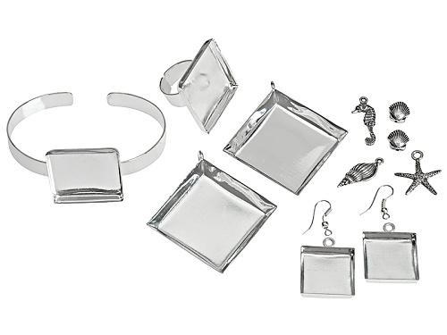 Photo of Bezel & Embeddables Kit Incl 2 Pendant Bezels, 1 Pair Earring Bezels,Square Ring Bezel, & Bracelet