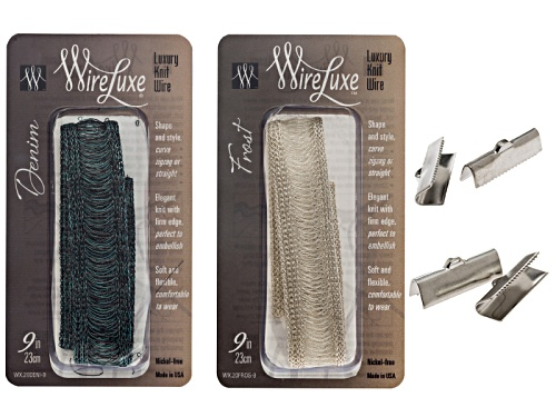 Photo of Wireluxe Frost And Denim Color Bracelet Kit Includes Two 9 Inch Bracelets Plus 2 Pairs Of Crimp Ends