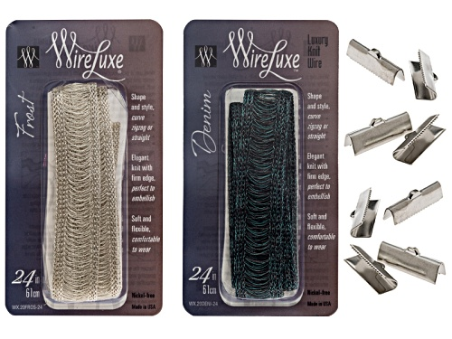 "Photo of Wireluxe Frost & Denim Colors Necklace Kit To Make Two  24"" Necklaces Plus 4 Pairs Crimp Ends"