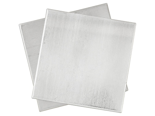 "Photo of Argentium ® Metal Sheet 22 Gauge 1"" X 1"" Two Pieces Total"