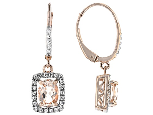 Photo of 1.21ctw Oval Cor-de-Rosa Morganite™ With .32ctw Round White Zircon 10k Rose Gold Dangle Earrings