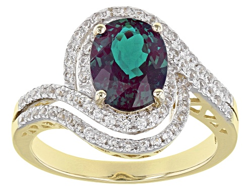 Photo of 1.96ct Oval Lab Created Alexandrite With .52ctw Round White Zircon 10k Yellow Gold Bypass Ring - Size 6