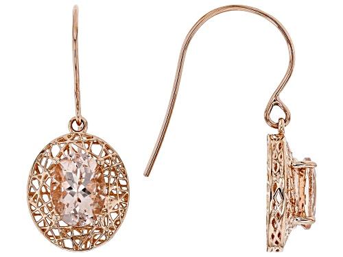 Photo of 1.87ctw Oval Cor-de-Rosa Morganite™ Solitaire 10k Rose Gold Filigree Dangle Earrings