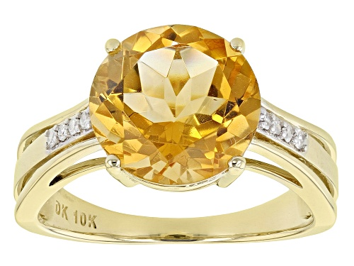 Photo of 4.25ct Round Golden Citrine Solitaire With .06ctw Round White Diamond Accent 10k Yellow Gold Ring - Size 7