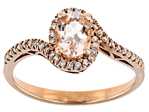 Photo of 0.69ct Oval Cor-de-Rosa Morganite™  With 0.16ctw Diamond 10k Rose Gold Ring - Size 7