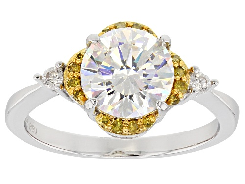Photo of 2.50ct lab created strontium titanate with .19ctw yellow diamond,white zircon two-tone silver ring - Size 10