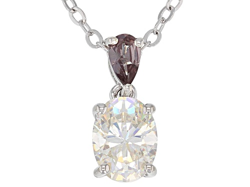 Photo of 1.56ct Fabulite Strontium Titanate and 0.19ctw color change garnet silver pendant And chain