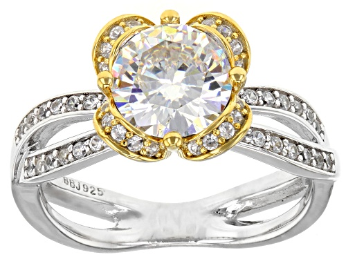 Photo of 2.12ct round lab created strontium Titanate with .35ctw white zircon two-tone sterling silver ring - Size 11