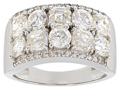 Photo of 4.34ctw Fabulite Strontium Titanate with .42ctw round white zircon rhodium over silver ring - Size 8