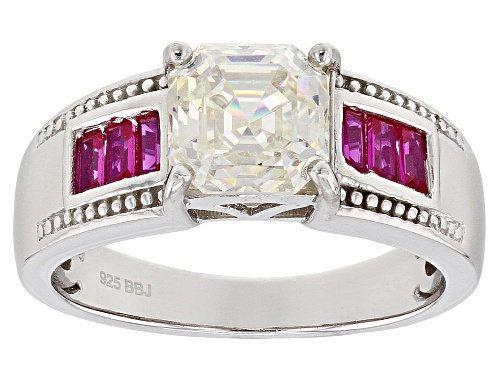 Photo of 2.30ct asscher cut lab created strontium titanate and .27ctw lab created ruby sterling silver ring - Size 8