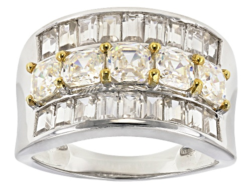 Photo of 2.13ctw lab created strontium titanate with 1.88ctw white zircon sterling silver ring - Size 8
