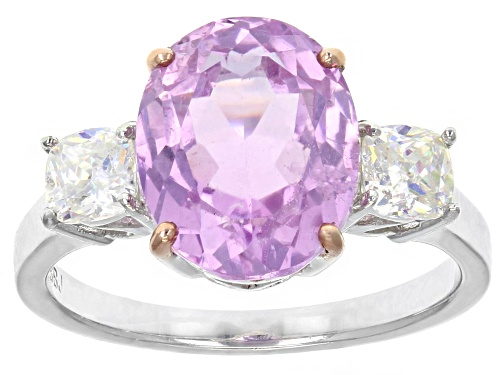 Photo of 3.80CT OVAL KUNZITE WITH .69CTW SQUARE CUSHION  Fabulite Strontium Titanate STERLING SILVER RING - Size 12